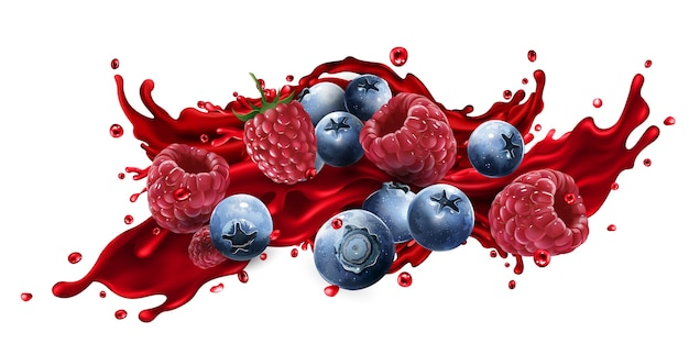 Fresh blueberries and raspberries in a splash of fruit juice on a white background.