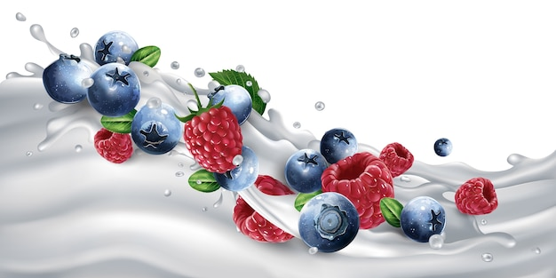Fresh blueberries and raspberries on a wave of milk or yogurt. realistic illustration.