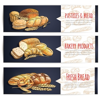 Баннеры свежий хлеб и хлебобулочные изделия