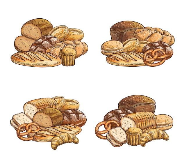 焼きたてのパンとペストリーのスケッチ、クロワッサンとカップケーキ