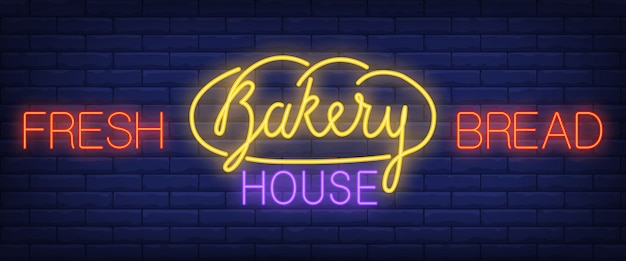 Fresh bread, bakery house neon text