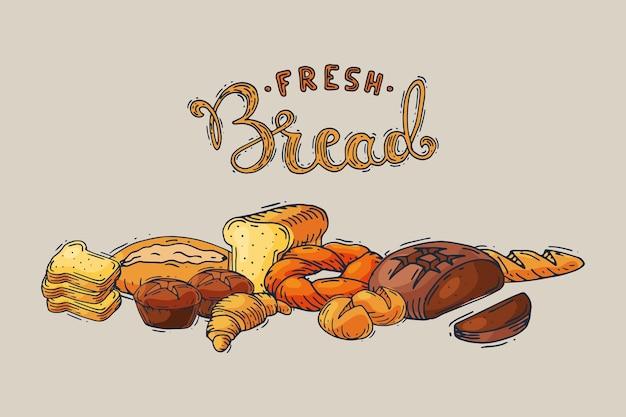 Свежий хлеб ручной рисунок в стиле эскиза, мягкая вкусная выпечка