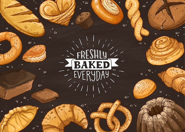 Fresh bread illustration