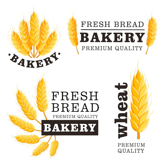 Fresh bread isolated logo set