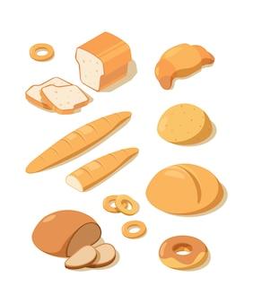신선한 빵. 빵집 파이 아이소 메트릭 음식에서 덩어리 프레첼 신선한 흰색과 검은 색 베이킹 빵