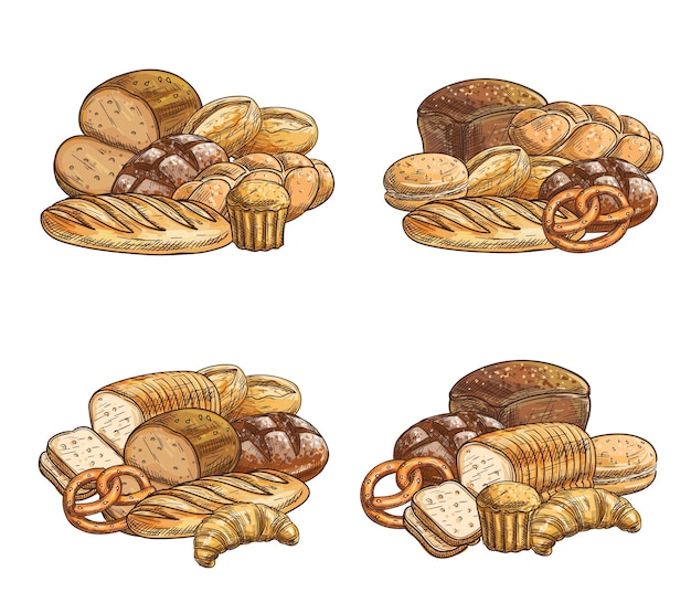 Fresh bread and pastry sketch, croissant and cupcake