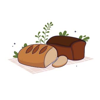 白で隔離されたテーブルクロスの上に置かれた焼きたてのパン