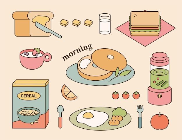 Fresh breakfast menu set