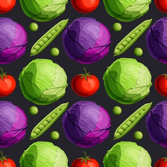Fresh bright vegetables green and red cabbage, tomato and peas seamless pattern