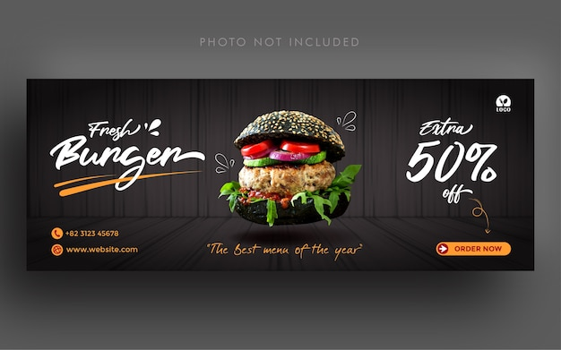Fresh burger promotion social media facebook cover banner template