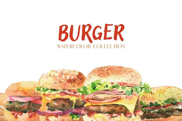 白い背景の上の新鮮なハンバーガー水彩画コレクション。