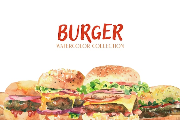 Fresh burger watercolor collection on white background.