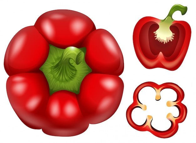 Fresh capsicum with different cuts