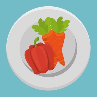 Свежие овощи моркови и перца