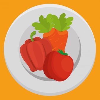 Fresh carrot and pepper with tomato vegetables