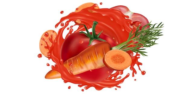 Свежая морковь и помидоры и всплеск овощного сока на белом фоне. реалистичная иллюстрация.