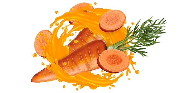 Fresh carrots and a splash of vegetable juice on a white background.