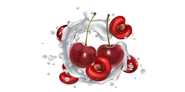 Fresh cherries in milk splashes on a white background.