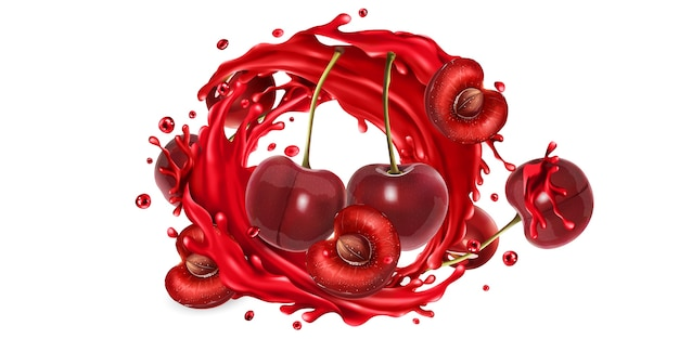 Fresh cherries and a splash of fruit juice on a white background.