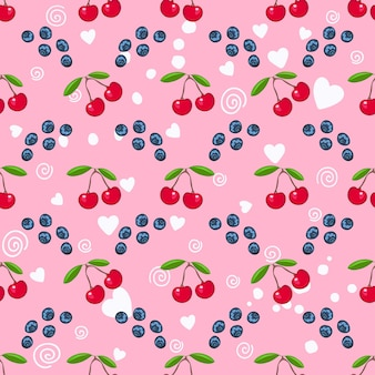 Fresh cherry and blueberry, white heart on the pink background vector seamless pattern. sweet berry for wrapper or textile.