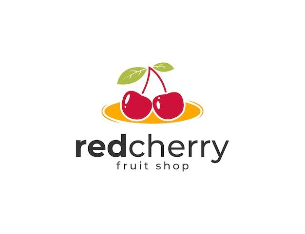 건강한 과일 로고가 있는 신선한 체리 그림