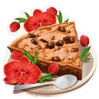 花と新鮮なチョコレートチョコチップケーキ