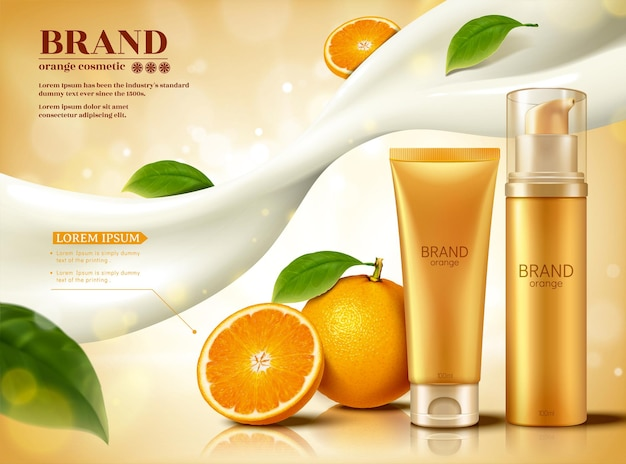 Fresh citrus cosmetic set with flowing creamy lotion and glittering effect in 3d illustration, skincare ads