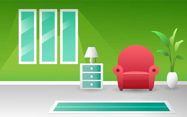 Fresh clean color modern living room interior concept vector design