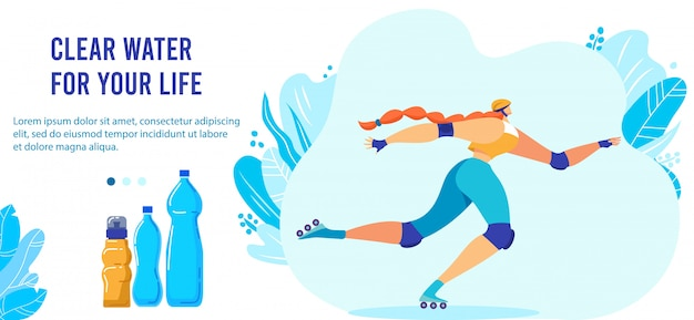 Fresh clear water for sports people. cartoon flat active sportswoman athlete rollerblading, roller skating with drinking water bottles, sports activity and healthy lifestyle banner