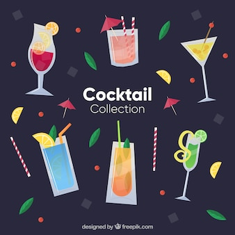 Fresh cocktails collection in flat style