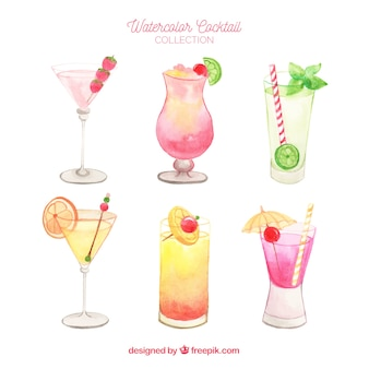 Fresh cocktails collection in watercolor style