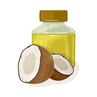 新鮮なココナッツの半分は、キャップで閉じられた透明な瓶の近くにあります