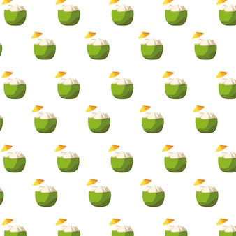 Fresh coconuts cocktails fruits pattern