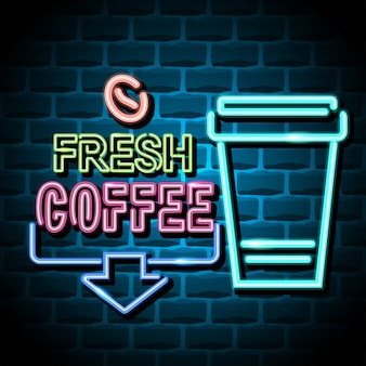 Fresh coffee advertising sign