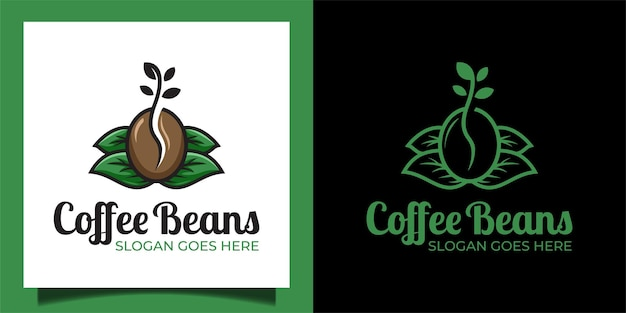 Fresh coffee beans with leaf and plant for coffee shop garden logo design