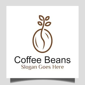 コーヒーショップガーデンロゴデザインラインアートスタイルの植物アイコンと新鮮なコーヒー豆