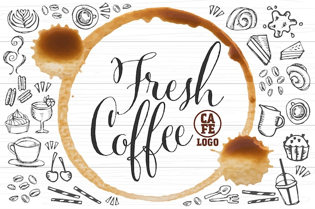 Fresh coffee brand template with cafe and bakery element