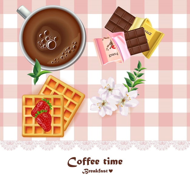 新鮮なコーヒーカップとワッフルとチョコレート朝食ベクトル。現実的な図面の上面図