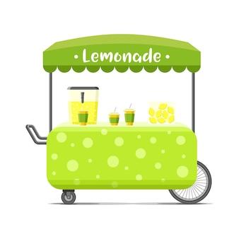 신선한 차가운 레모네이드 길거리 음식 카트. 다채로운 그림, 만화 스타일, 흰색 배경에 고립