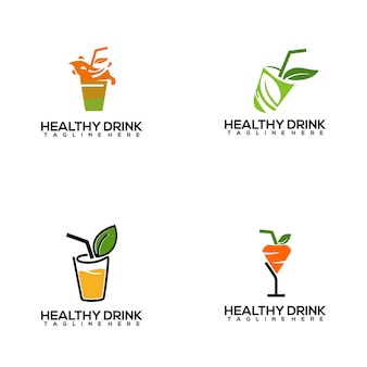 Fresh and colorful healthy drink logo template