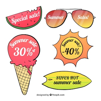 Fresh and colorful labels for summer sales