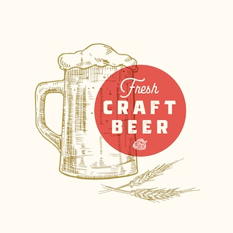 Fresh craft beer abstract sign, symbol or logo template. hand drawn retro beer mug, hops and classic typography. vintage beer emblem or label.