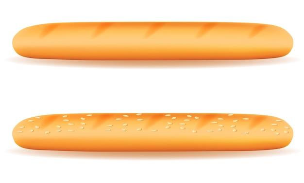 白の焼きたてのクリスプブレッド バゲット パン パン Premiumベクター
