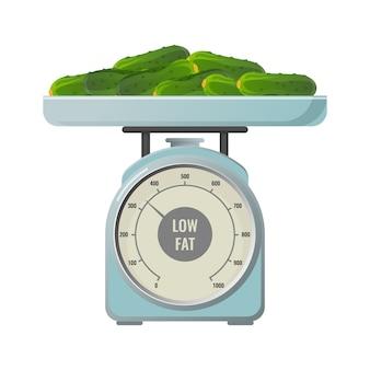Свежие огурцы с пониженным содержанием жира содержат на механических весах с круглой шкалой. здоровые органические овощи на изолированных реалистичных плоских весах.