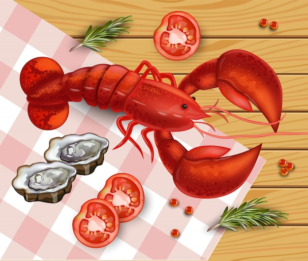 Fresh detailed lobster seafood