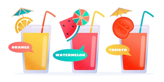 Fresh different kinds juice in glasses cartoon set