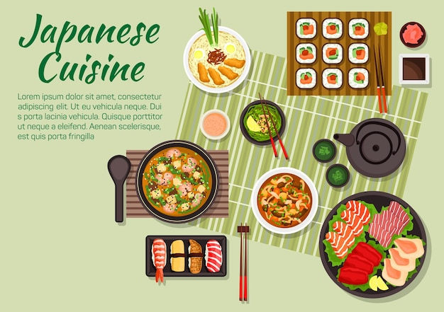 巻き寿司と握り寿司、刺身セットを使った日本料理の新鮮なディナー