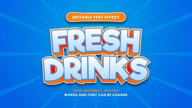 현대적인 3d 스타일의 신선한 음료 편집 가능한 텍스트 효과