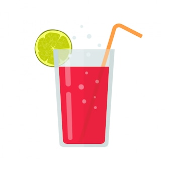 Fresh drink glass of smoothie or diet beverage cocktail illustration in flat cartoon design isolated clipart