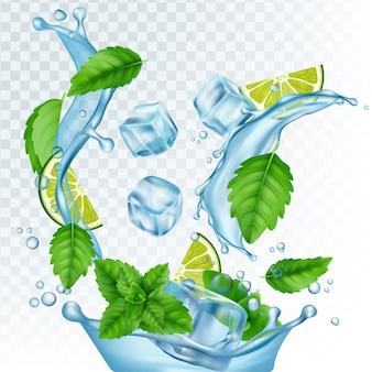 新鮮な飲み物のイラスト。リアルな水、アイスキューブ、ミントの葉、透明な背景にライム